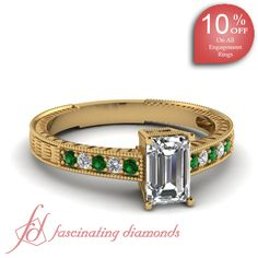 Emerald Cut and Round Diamonds & Green Emerald 14K Yellow Gold Vintage Engagement Ring in Pave Setting || Brush Stroke Ring