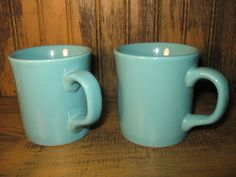 Vintage Pair Turquoise Blue Ceramic Coffee Cups