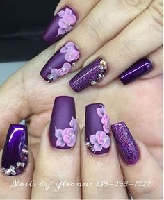 Purple with 3d art and sparkles with bling.