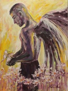 ARTFINDER: Angel with a butterfly by Margaret Raven - This art will change aura of YOUR Home, add charm for your sitting-room. This painting comes from the land where wild flowers sway in the fields like waves o...