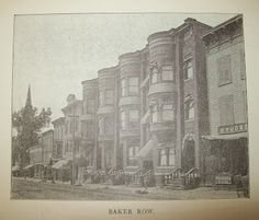 """I discovered this picture of and 518 Warren Street in captioned """"Baker Row"""" and showing this stretch of the 500 block before the bank building that is now City Hall was built. Banks Building, My Kind Of Town, The Row, Art Gallery, New York, Street, World, City, Roads"""