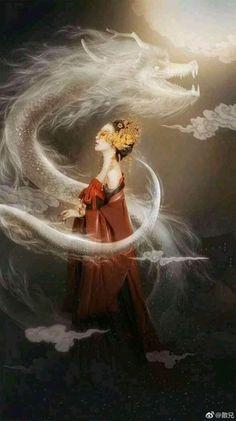 Japon Illustration, China Art, Dragon Art, Fantasy Artwork, Geisha, Ancient Art, Anime Art Girl, Fantasy Characters, Japanese Art