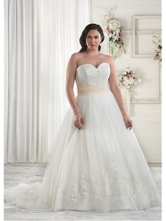 Fabulous Tulle Sweetheart Neckline Ball Gown Plus Size Wedding Dresses with Lace Appliques
