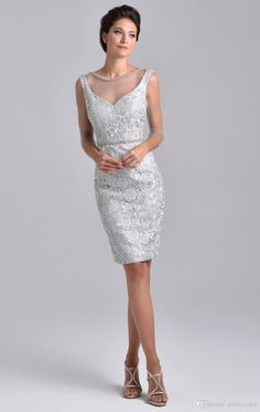 Scoop Neckline Sheath Zipper Closure Beaded Neckline knee length lace mother of the Bride Dress Pink Sliver Short Sleeves
