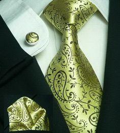 544 Bacrelli Olive Green Paisely Silk Tie Set « Silk Ties | Wedding Ties | Wedding Sets