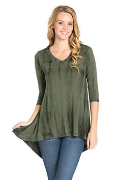 Frumos Womens 34 Sleeve HiLow Tie Dye Tunic Top Olive Bamboo 3XLarge *** Visit the image link more details. Note:It is affiliate link to Amazon.