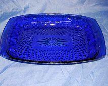 "AVON Royal Sapphire Casserole Dish Cobalt Blue Glass Oven to Table 8"" X 11"""