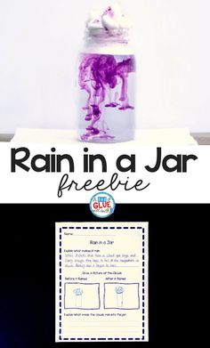 Creating rain in a jar is a fantastic way for students to learn how it rains. Teachers can use this rain in a jar science experiment during a unit on weather, cloud formation, or just for a fun spring science activity! It is always a hit with kids in preschool and kindergarten. via @dabofgluewilldo #scienceexperiment #freeprintable