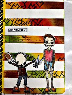 Claudine's Art Corner: Stripey Background - Stampotique Challenge 174