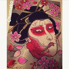 【chamaks4】さんのInstagramをピンしています。 《Namakubi... The New New #Namakubi#cherryblossoms#art #japaneseart#japanesestyle#arte #tattooinkthemob#tintadetatuajes #chamako》