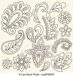 Henna Mehndi Tattoo Doodle Abstract Floral Paisley Design Elements Vector Illustration