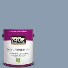 BEHR Premium Plus 1-gal. #icc-65 Relaxing Blue Zero VOC Eggshell Enamel Interior Paint