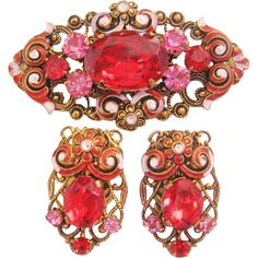 Vintage Brass Filigree Red Glass and Enamel Pin-Brooch-Earrings Set