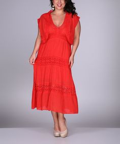 Look at this Ananda's Collection Coral Lace Dress - Plus on #zulily today!
