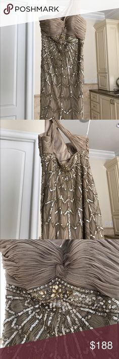 Sue Wong Designer Dress -size 8. Worn only once. Size 8 gold and sequin Sue Wong dress. Satin lining. One shoulder with flattering cross design in the back. Paid $500 for it, and only wore it once to my son's wedding. Sue Wong Dresses One Shoulder