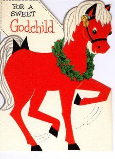 #midcentury #Christmas #greetingcard #pony #Hallmark