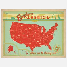 Explore America Map by Art & Soul Of America