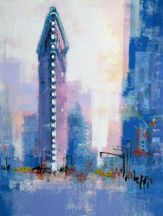 NEW YORK FLAT IRON BUILDING by Colin Ruffell. Another souvenir of our visits to New York is this iconic piece of architecture. I wonder whether youngsters nowadays know what a flat iron is and why the building was called that. I have posted the print on crabfish.com and artfinder