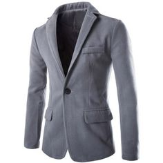 Slimming Modish Lapel One Button Multi-Pocket Long Sleeve Men's Woolen Blend Blazer #jewelry, #women, #men, #hats, #watches, #belts, #fashion