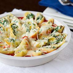 conchiglioni stuffed with prosciutto and spinach.