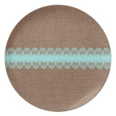 Pale Turquoise Lace against Burlap - Shabby Chic Party Plates