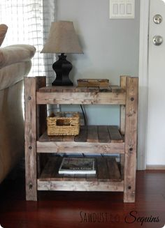 DIY Furniture   Farmhouse Side Table with FREE Building Plans {Arhaus Inspired}