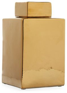 Modern Gold Porcelain Square Large Lidded Temple Jar - modern - accessories and decor - Kathy Kuo Home