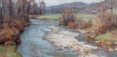 "Clyde Aspevig - ""Vermont"", oil on canvas 30 x 60 inches"