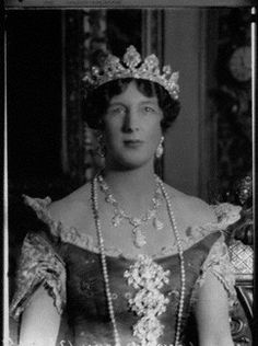 Edith Helen (née Chaplin), Marchioness of Londonderry  by Lafayette  1927.  Lady L wears the famed Londonderry tiara and stomacher and the turquoise necklace.