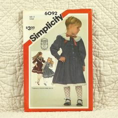Girls Dress, Simplicity 6092 Pattern, Gunne Sax, Front Buttons, Skirt Gathered to Bodice, Tie Ends, 1983 Uncut, Size 4, 3-oz by DartingDogPatterns on Etsy