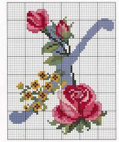 Ponto cruz: Monogramas de Flores em Ponto Cruz.