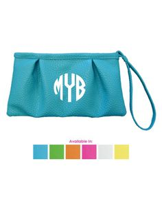 monogrammed wristlet clutch  assorted colors by monkeyseeboutique. Pink w/ white monogram.