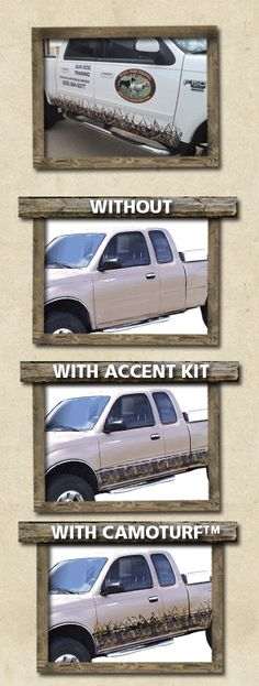 OVERWRAPS Camouflage Coverings. You can purchase one of our CamoTurf grassy accent kits for your vehicle or truck.