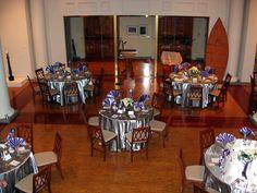 pewter satin with lavendar napkins and white hydrangea centerpieces