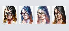 Four views and tries of Helena Yepes.