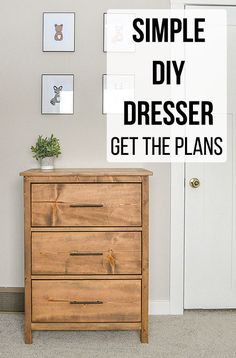 Love this easy DIY dresser. The plans are so simple to . How to build a basic DIY dresser for cheap using basic lumber. Diy Furniture Plans Wood Projects, Woodworking Furniture Plans, Easy Woodworking Projects, Wood Furniture, Diy Projects, Dresser Furniture, Custom Woodworking, Project Ideas, Woodworking Patterns