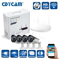 HD 720P Wifi ip camera kit cctv camera Wireless NVR Kit ONVIF 1.0mp support Plug and Play P2P Android and iphone HDD 1T 2T #Affiliate