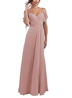 3809e284d38d New CLOTHKNOW CLOTHKNOW Spaghetti Chiffon Bridesmaid Dresses Long with  Shoulder Ruffles womens dresses.   69.99