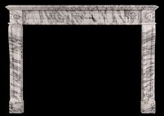 A 19th century French Louis XVI style antique fireplace in Arabescato marble.  Stock No: 3943