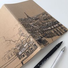 Sending this Prague themed Moleskine notebook to its new home today. Thanks again @k8kelton for the commission 😊 #art #drawing #pen…