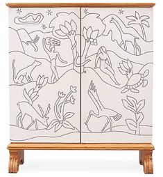 An Otto Schulz oak cabinet, for Boet, Gothenburg 1944, the sides and doors covered in artificial leather. Decorated in 'bopoint', 'Paradise' after a drawing by the .... - Spring Modern Auction, Stockholm 572 – Bukowskis