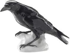 Porcelain raven by Wilhelm Neuhäuser for Nymphenburg