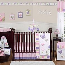 image of Sweet Jojo Designs Butterfly Crib Bedding Collection in Pink/Purple