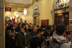 More than 2,000 voters flooded the Iowa State University Memorial Union for Monday night's caucus. While voters were encouraged to arrive no later than 6:30 p.m., several precincts in the building did not start the event until 7:30 p.m. Photo by Julie Erickson/Ames Tribune   http://amestrib.com/news/ames-and-story-county/cruz-clinton-claim-victory-iowa