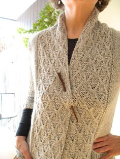 Nora Gaughan - Astor Cardigan  ...love the cabled shawl collar CHECK OUT THE FASTENER!