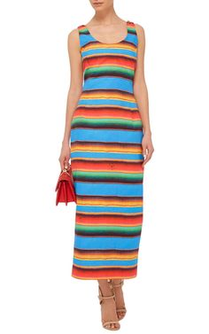 Impeccable Italian tailoring meets high-impact verve in the Haitian/Italian rising star's vibrant creations. This **Stella Jean** dress features vibrant multicolored stripes in a form-fitting silhouette.