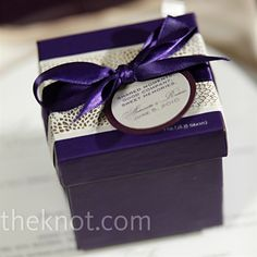 LOVE THIS.     Real Weddings - A Formal Wedding in Chicago, IL - Purple Chocolate Favors