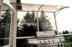 This aluminum patio cover blocks harmful UV rays.