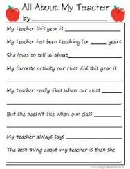 Image result for fill in the blank sheets for teacher appreciation