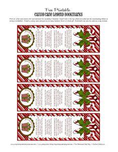 legend of candy cane printable | Free bookmark printables of the Candy Cane Legend | Christmas